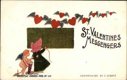 St. Valentine's Messengers - Cupid, Young Girl and Flying Hearts