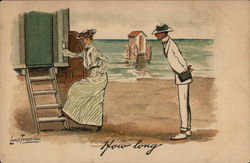 "Woman Entering Bathing Machine and Man on Seashore Asking ""How Long"""