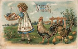 Easter Greeting - Girl carrying basket of eggs being followed by chickens