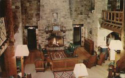 Giant City Lodge Interior and Massive Fireplace