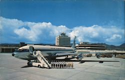 Pan American World Airways Boeing 707 Inter-Continental Jet Airliner and Crew at Honolulu International Airport