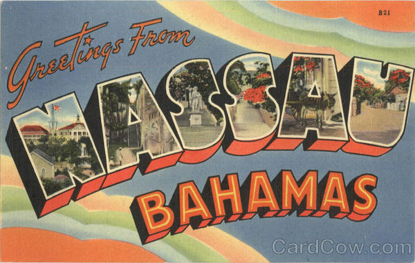 Greetings from Nassau Bahamas Caribbean Islands Large Letter