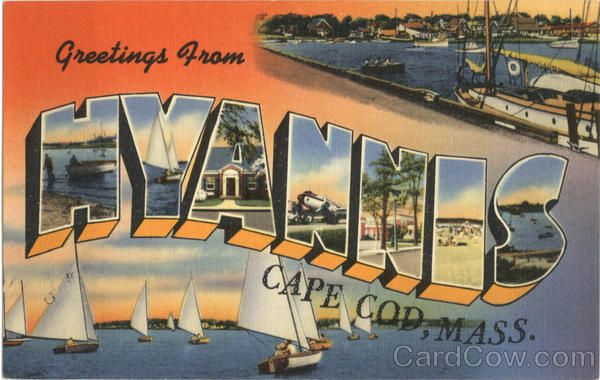 Greetings from Hyannis Cape Cod Massachusetts Large Letter