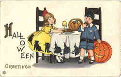 Halloween Postcard, Children Signed M.E.P.