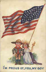 I'm Proud of You My Boy, Children Patriotic, US Flag Postcard