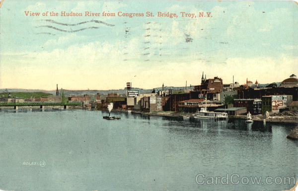 View Of The Hudson River From Congress St. Bridge Troy New York