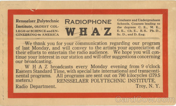 Radiophone WHAZ Postal Card Troy New York Topical