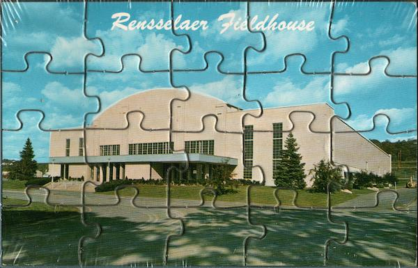 RPI College Troy NY http://www.cardcow.com/287962/rpi-fieldhouse-puzzle-card-troy-new-york/