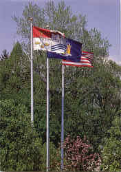 Flags outside the Rensselaer Union