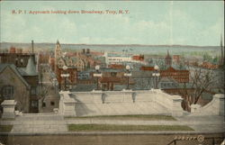 Rensselaer Polytechnic Institute - Approach Looking Down Broadway Postcard