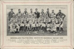 1909 RPI Baseball Team Postcard