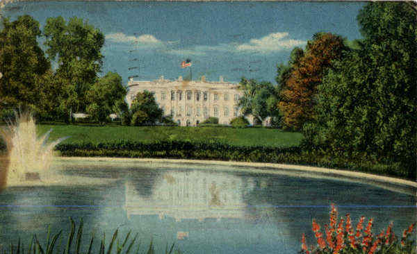 Lawn and Beautiful Southern Portico of the White House Washington District of Columbia