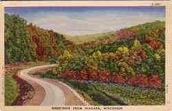 Greetings from Niagara Wisconsin Postcard