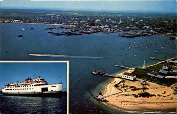 Air view of Brant point and Harbor Nantucket Island Massachusetts