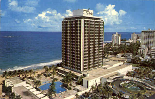 The Sheraton Hotel with the Sunny Caribbean Sea in the background San Juan Puerto Rico