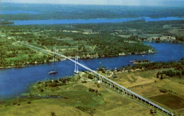 Aerial View of the Thousand Islands International Bridge between U. S. A and Canada New York