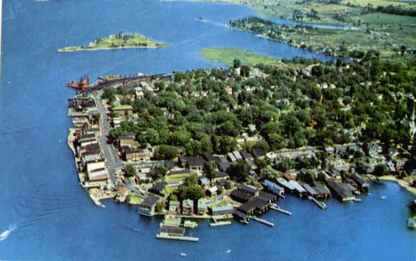 Aerial view of the Thousand Islands, New York on the St. Lawrence River
