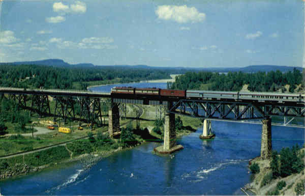 The C.P.R. Canadian crossing the Nipigon River Trains, Railroad