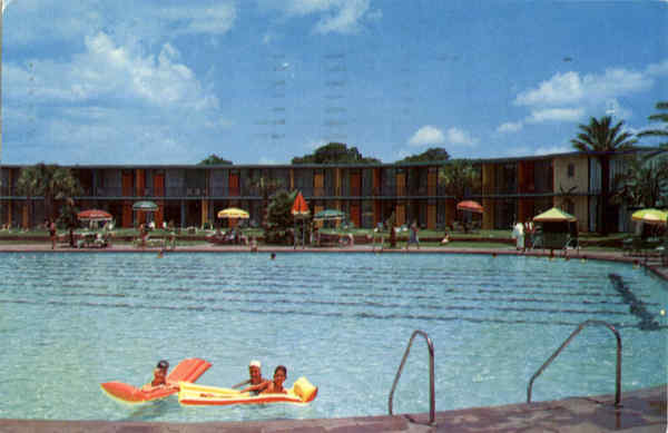 Shamrock Hilton Hotel Pool Showing The New Lanai Unit Houston Tx