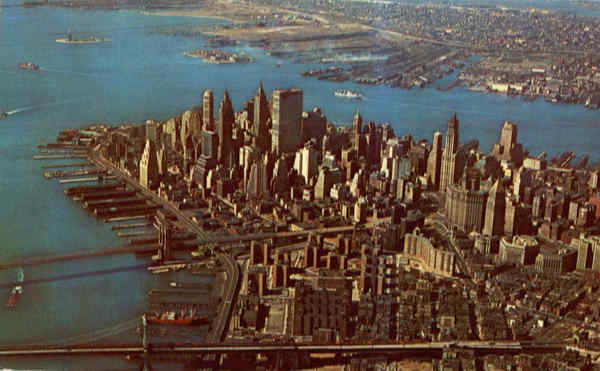 Lower Manhattan Skyline From The Air New York City