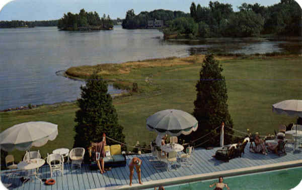 The St. Lawrence River as seen from the swimming pool, Thousand Islands Country Club New York