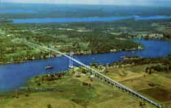 Aerial View of the Thousand Islands International Bridge between U. S. A and Canada