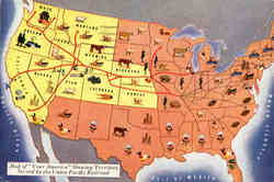 Map of Your America Showing Territory Served by the Union Pacific Railroad