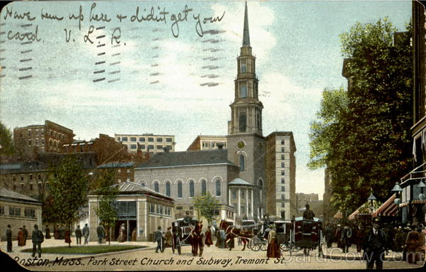 Park Street Church And Subway, Tremont Street Boston Massachusetts