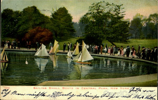 Sailing Small Boats In Central Park New York City