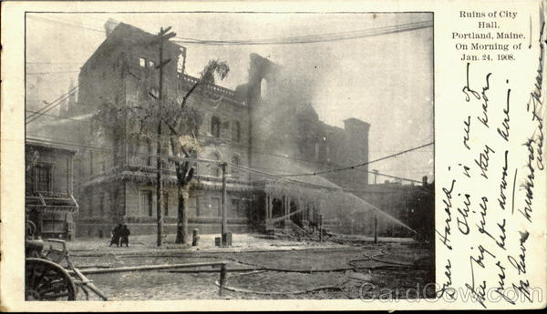Ruins of City Hall (On morning of Jan. 24, 1908) Portland Maine