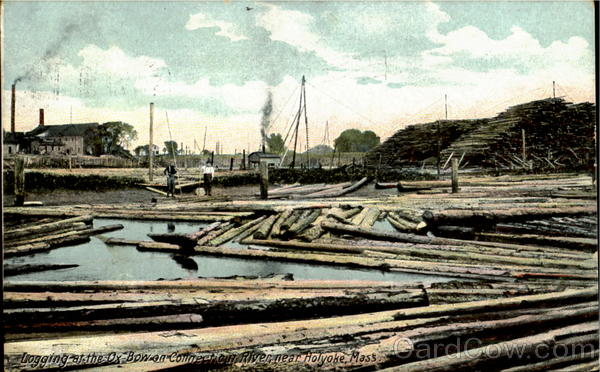 Logging At The Ox Bow On Connection River, Near Holyoke Massachusetts