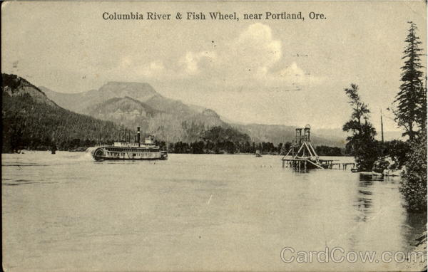Columbia River & Fish Wheel, neer Portland Oregon