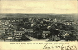 General view of Northern Pascoag, with free Baptist Church and St. Joseph's Catholic Church