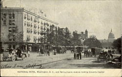National Hotel and Pennsylvenia Avenue looking towards Capitol