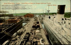 Fore River Ship Yards. Dock Pier At Narrow Guage Railroad Track