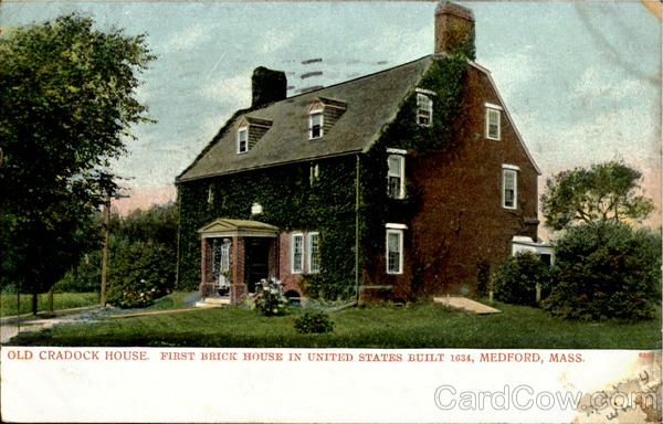 Old Cradock House, First Brick House In United States. Medford Massachusetts