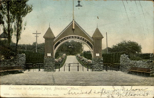 Entrance to Highland Park Brockton Massachusetts