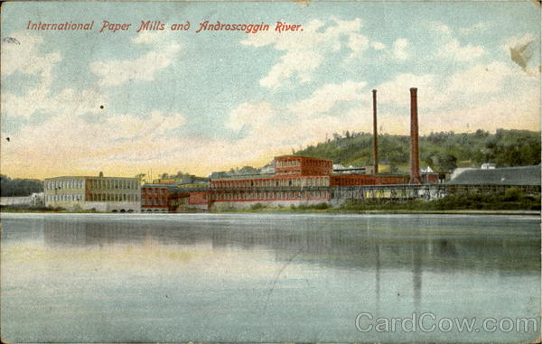 International Paper Mills and Androscoggin River Augusta Maine