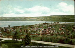 Bird'S Eye View Of Watkins, N.Y. And Corner Of Seneca Lake