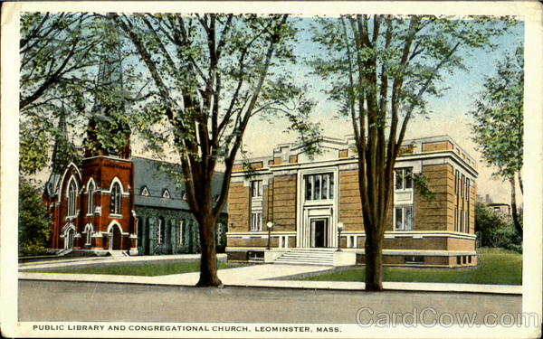 Public Library And Congregational Church Leominster Massachusetts