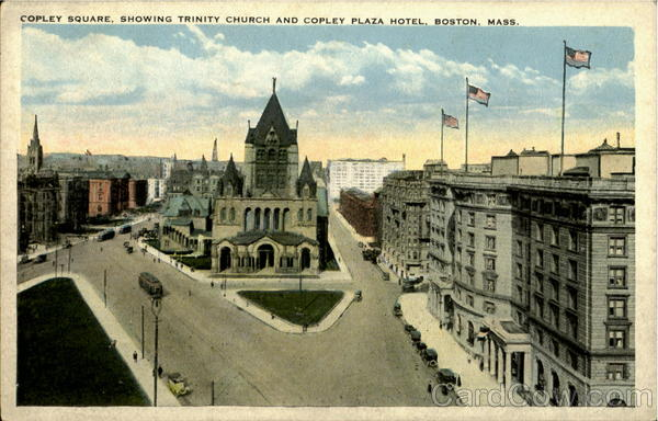 Copley Square, showing Trinity Church and Copley Plaza Hotel Boston Massachusetts