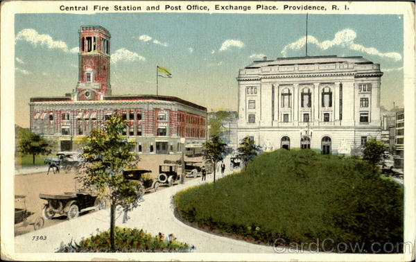 Central Fire Station And Post Office, Exchange Palace Proviance Rhode Island