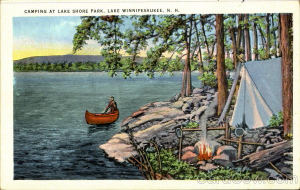 Camping At Lake Shore Park Lake Winnipesaukee New Hampshire