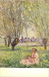 WOMAN SEATED UNDER THE WILLOWS by Monet Postcard