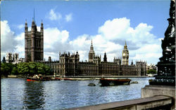 The Houses Of Parliament And The River Thames Postcard