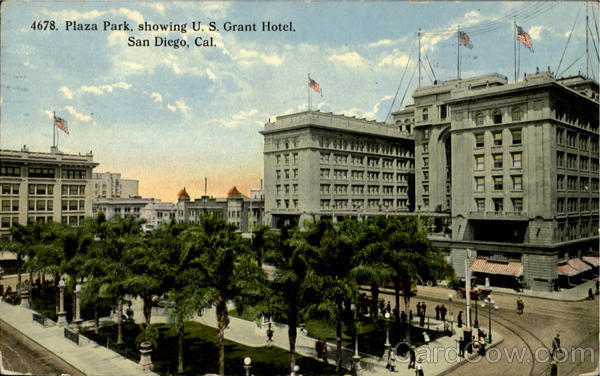 Plaza Park, Showing U.S. Grant Hotel San Diego California