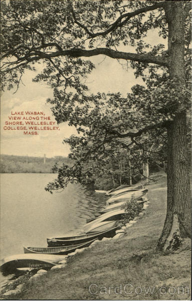 LAKE Waban, VIEW ALONG THE STORE, WELLESLEY COLLEGE Massachusetts