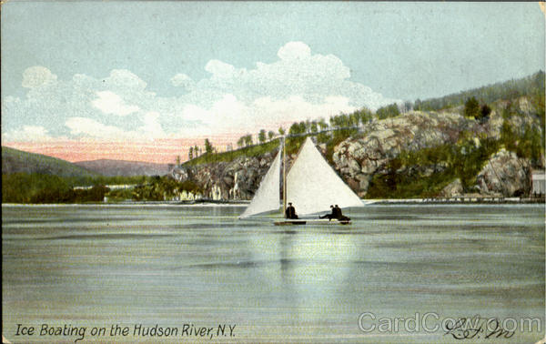 Ice Boating On The Hudson River New York N.Y