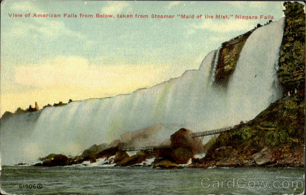 View Of American Falls From Below, Taken From Steamer Maid Of Mist, Niagara Falls New York