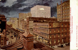 The Elevated R.R.,Looking North On Wabash Postcard